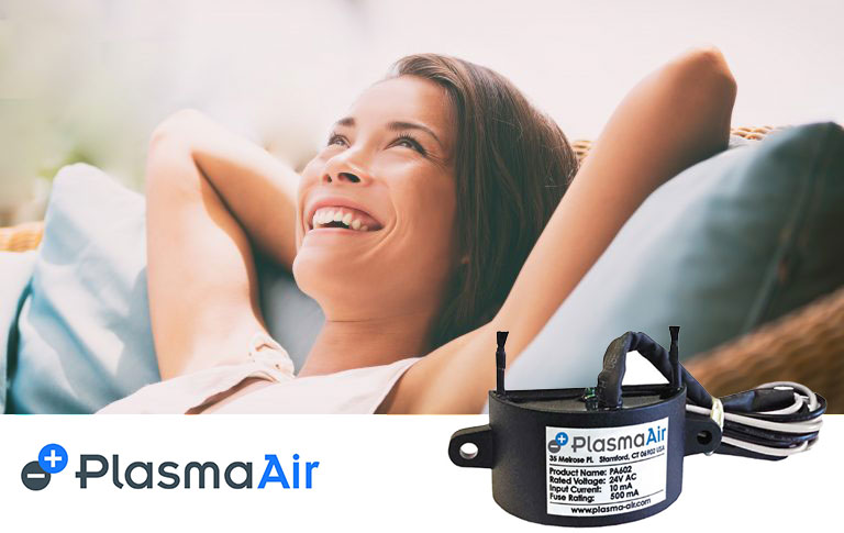 Plasma Air Purifier Promotional Banner with Women Breathing Fresh Air
